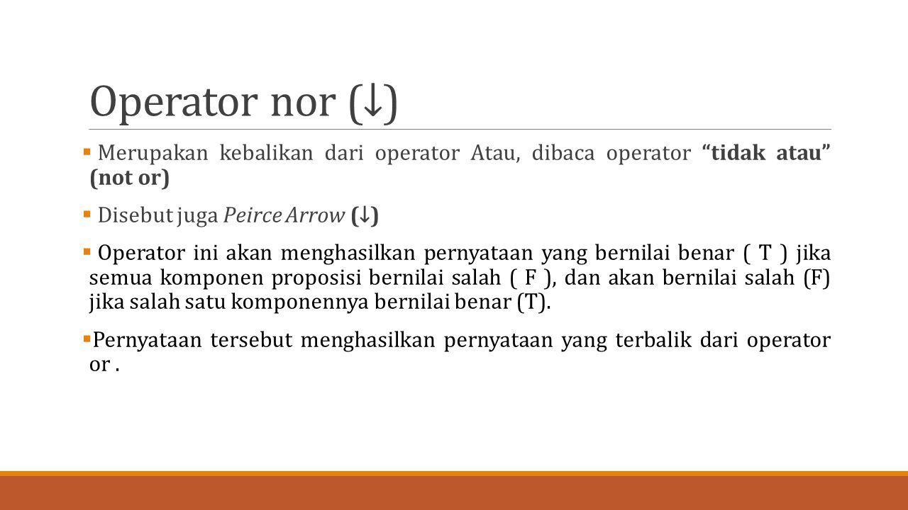 """Operator nor (↓)  Merupakan kebalikan dari operator Atau, dibaca operator """"tidak atau"""" (not or)  Disebut juga Peirce Arrow (↓)  Operator ini akan m"""
