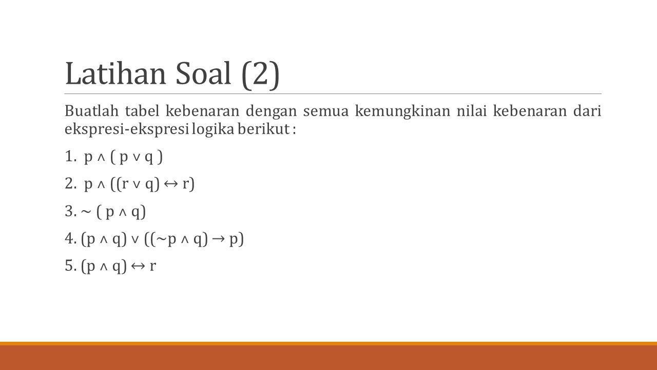 Latihan Soal (2) Buatlah tabel kebenaran dengan semua kemungkinan nilai kebenaran dari ekspresi-ekspresi logika berikut : 1. p ˄ ( p ˅ q ) 2. p ˄ ((r