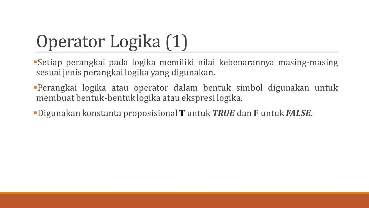 Operator Logika (1)  Setiap perangkai pada logika memiliki nilai kebenarannya masing-masing sesuai jenis perangkai logika yang digunakan.  Perangkai