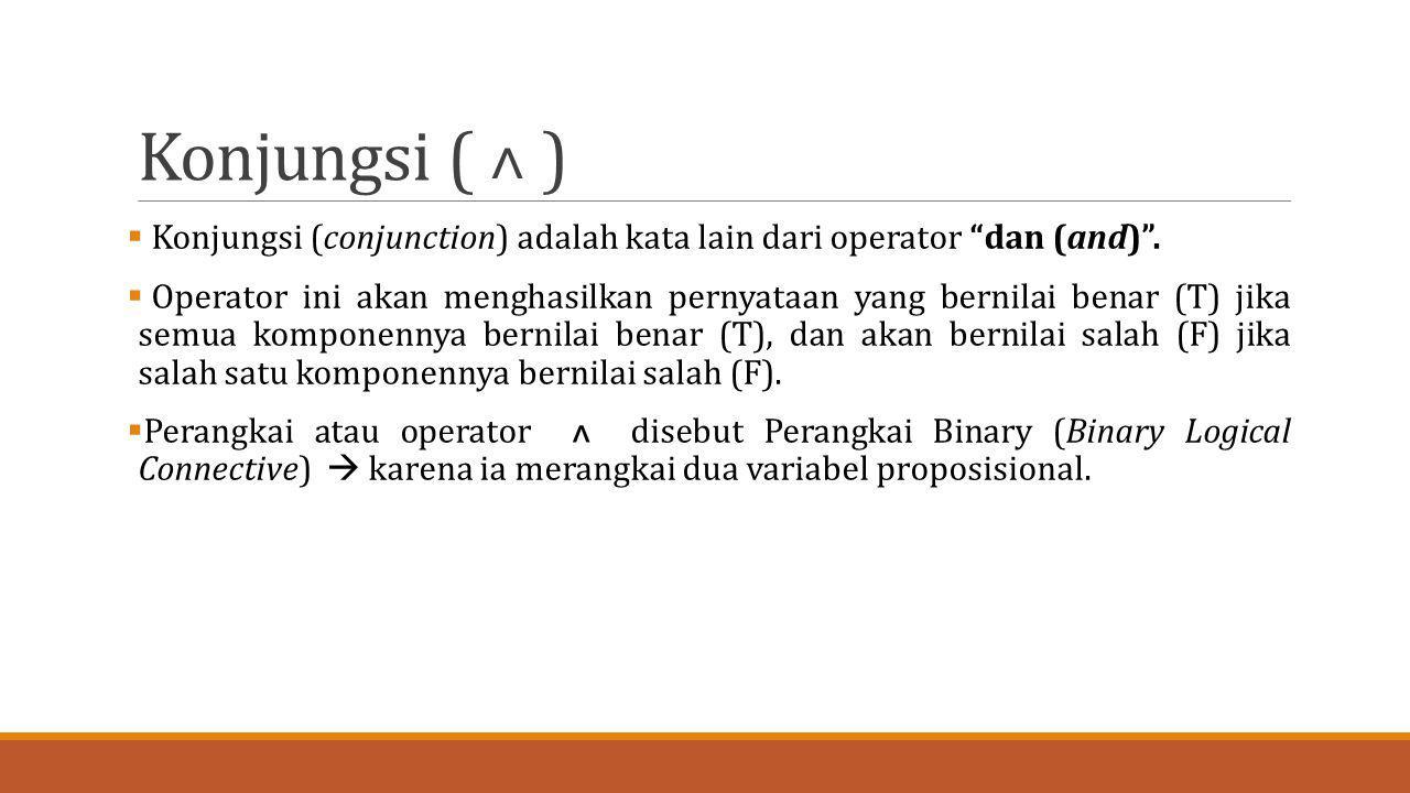 """Konjungsi ( ˄ )  Konjungsi (conjunction) adalah kata lain dari operator """"dan (and)"""".  Operator ini akan menghasilkan pernyataan yang bernilai benar"""