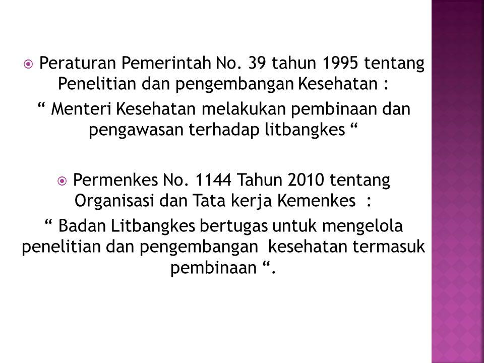 """ Peraturan Pemerintah No. 39 tahun 1995 tentang Penelitian dan pengembangan Kesehatan : """" Menteri Kesehatan melakukan pembinaan dan pengawasan terhad"""