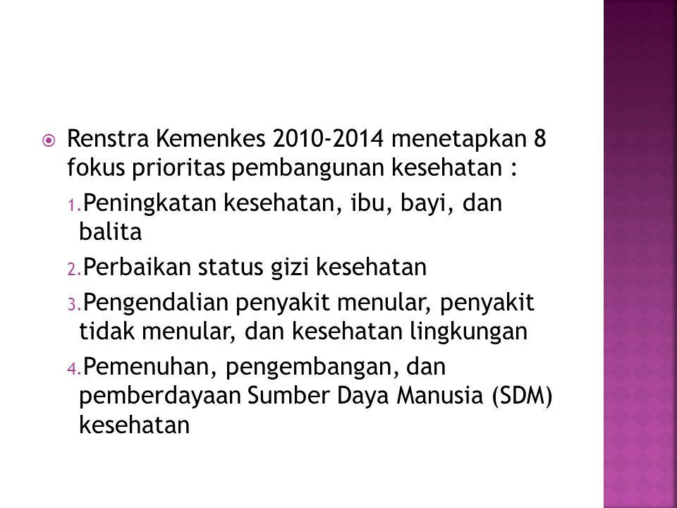  Renstra Kemenkes 2010-2014 menetapkan 8 fokus prioritas pembangunan kesehatan : 1. Peningkatan kesehatan, ibu, bayi, dan balita 2. Perbaikan status