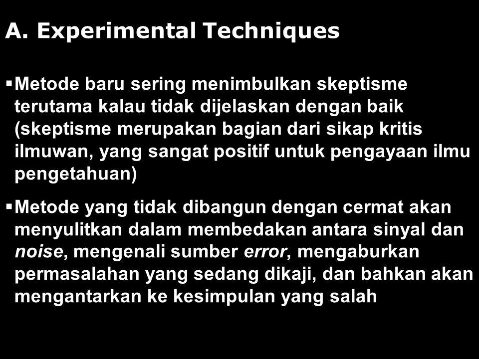 A. Experimental Techniques  Metode baru sering menimbulkan skeptisme terutama kalau tidak dijelaskan dengan baik (skeptisme merupakan bagian dari sik