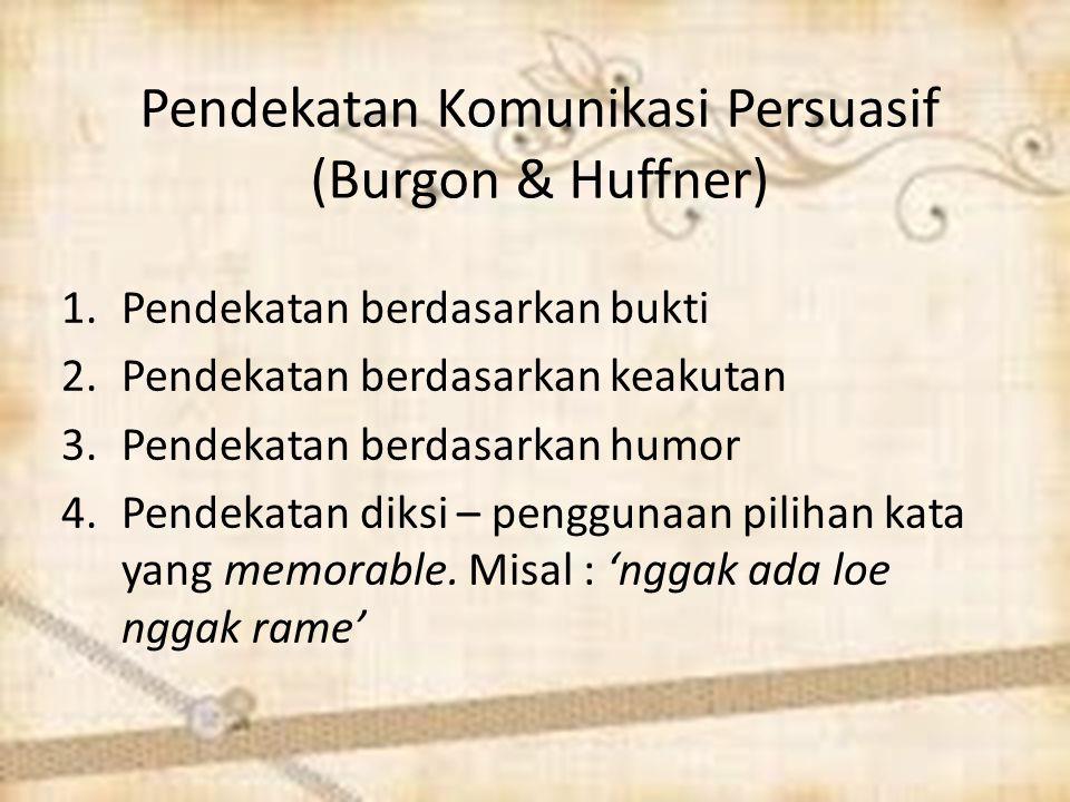 Pendekatan Komunikasi Persuasif (Burgon & Huffner) 1.Pendekatan berdasarkan bukti 2.Pendekatan berdasarkan keakutan 3.Pendekatan berdasarkan humor 4.P