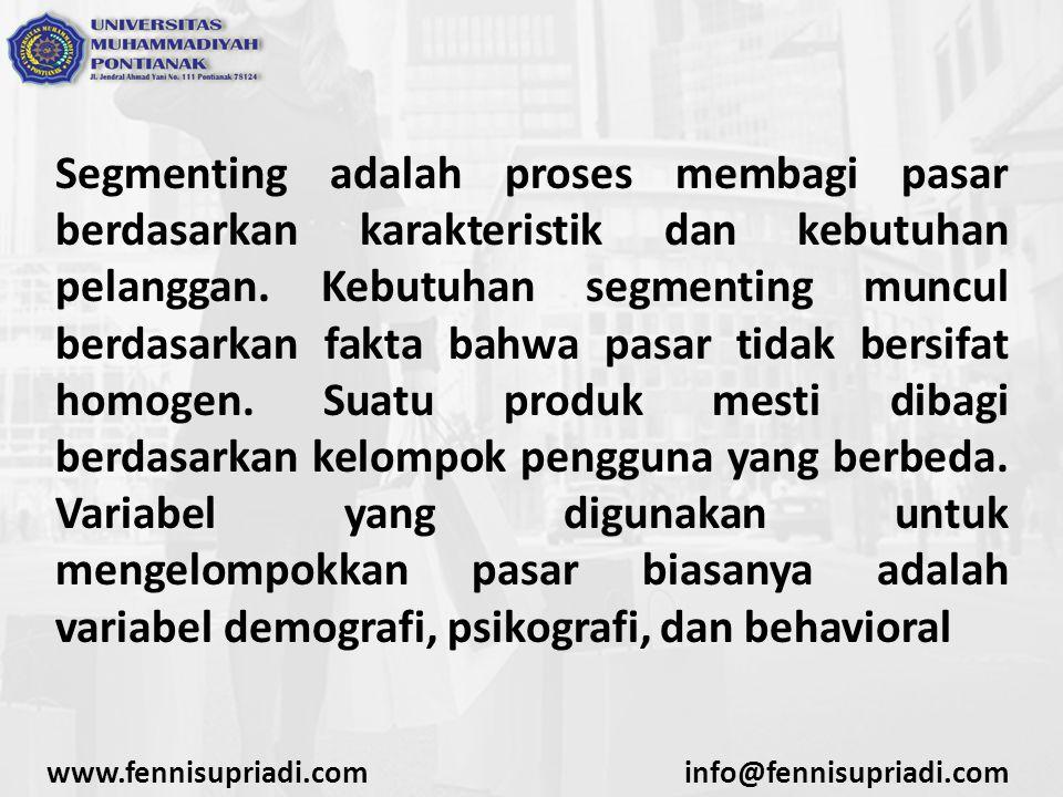 Segmenting adalah proses membagi pasar berdasarkan karakteristik dan kebutuhan pelanggan. Kebutuhan segmenting muncul berdasarkan fakta bahwa pasar ti