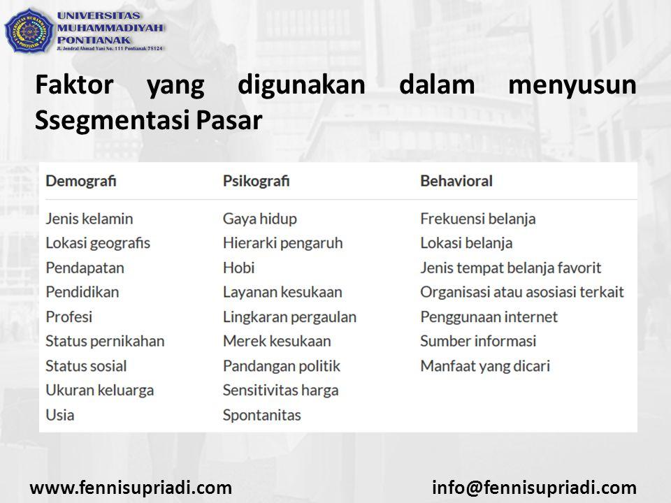 www.fennisupriadi.cominfo@fennisupriadi.com Faktor yang digunakan dalam menyusun Ssegmentasi Pasar