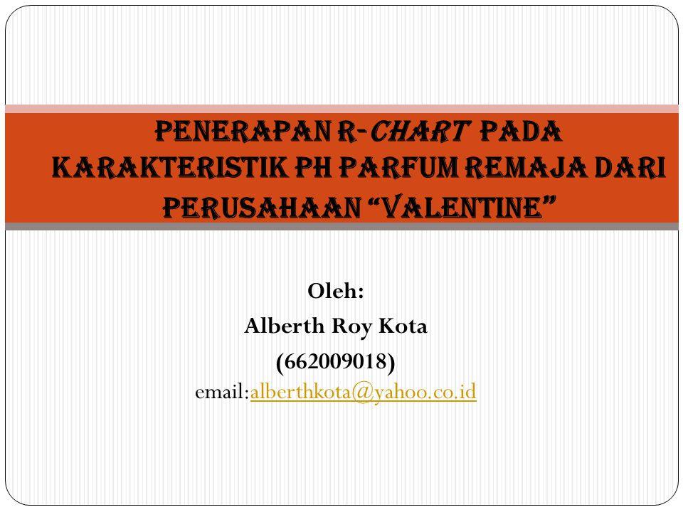 Oleh: Alberth Roy Kota (662009018) email:alberthkota@yahoo.co.idalberthkota@yahoo.co.id Penerapan R-Chart pada karakteristik pH parfum Remaja dari perusahaan Valentine