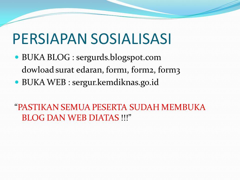 """PERSIAPAN SOSIALISASI BUKA BLOG : sergurds.blogspot.com dowload surat edaran, form1, form2, form3 BUKA WEB : sergur.kemdiknas.go.id """"PASTIKAN SEMUA PE"""