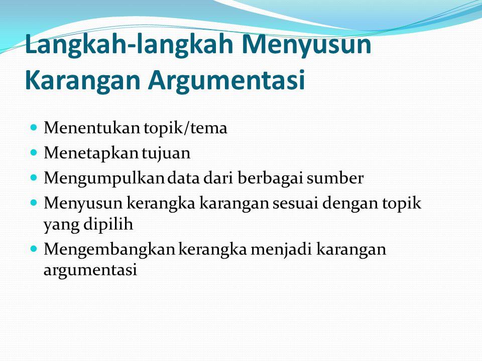 Langkah-langkah Menyusun Karangan Argumentasi Menentukan topik/tema Menetapkan tujuan Mengumpulkan data dari berbagai sumber Menyusun kerangka karanga