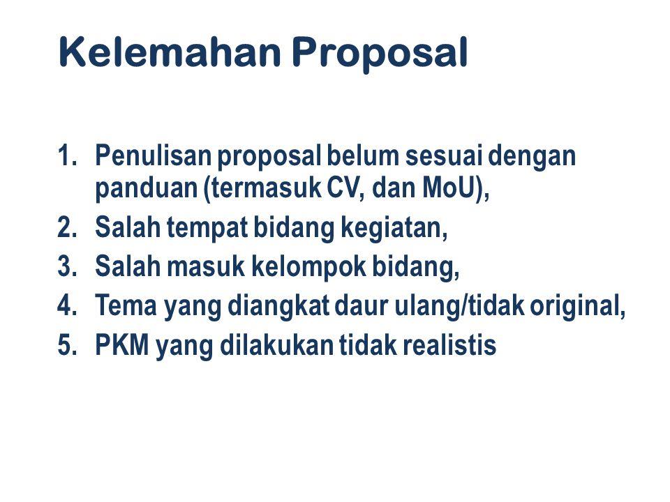 Kelemahan Proposal 1.Penulisan proposal belum sesuai dengan panduan (termasuk CV, dan MoU), 2.Salah tempat bidang kegiatan, 3.Salah masuk kelompok bidang, 4.Tema yang diangkat daur ulang/tidak original, 5.PKM yang dilakukan tidak realistis