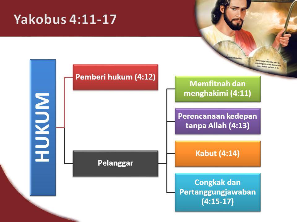 HUKUM Pemberi hukum (4:12) Pelanggar Memfitnah dan menghakimi (4:11) Perencanaan kedepan tanpa Allah (4:13) Kabut (4:14) Congkak dan Pertanggungjawaban (4:15-17)