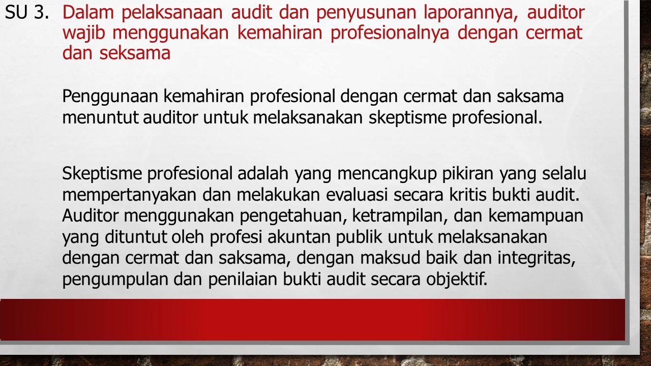 Penggunaan kemahiran profesional dengan cermat dan saksama menuntut auditor untuk melaksanakan skeptisme profesional. Skeptisme profesional adalah yan