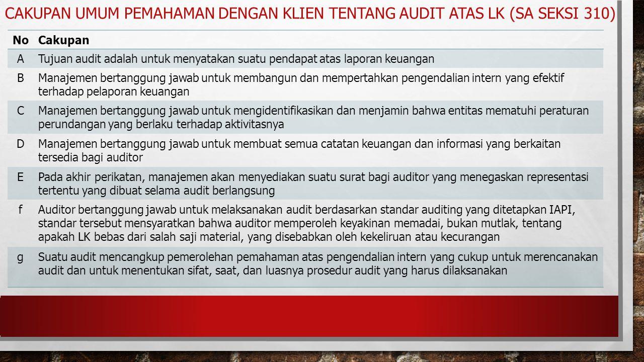 NoCakupan ATujuan audit adalah untuk menyatakan suatu pendapat atas laporan keuangan BManajemen bertanggung jawab untuk membangun dan mempertahkan pen