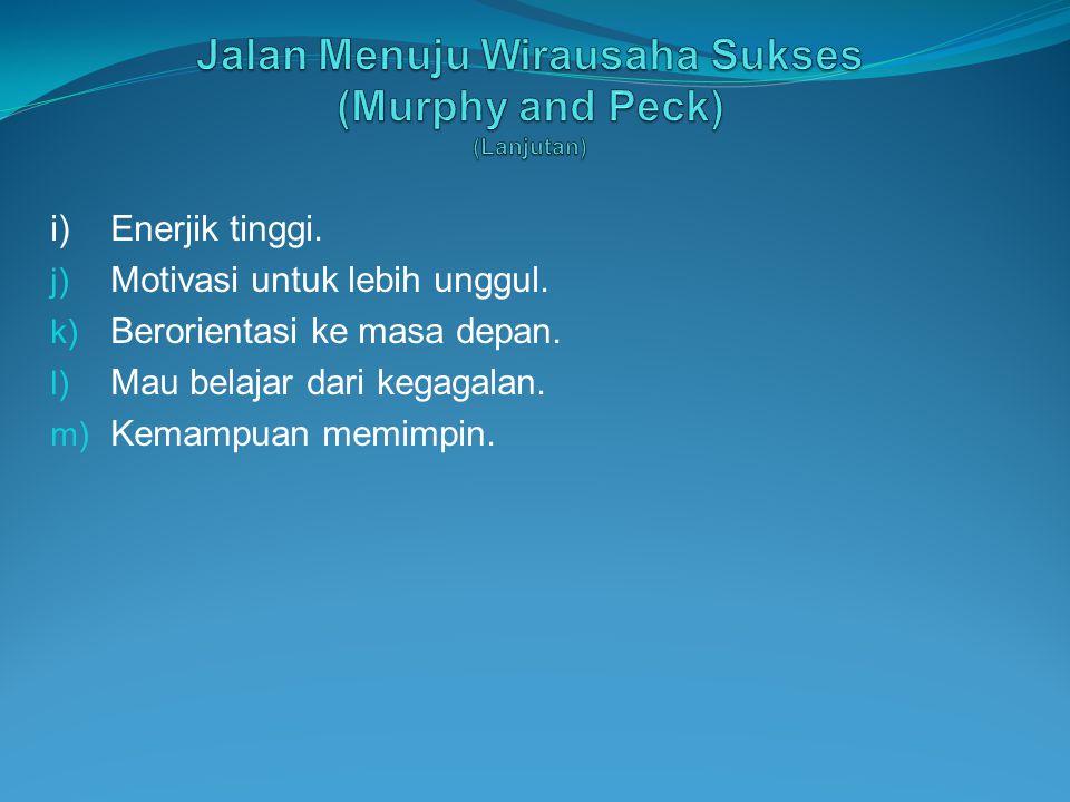 i)Enerjik tinggi. j) Motivasi untuk lebih unggul. k) Berorientasi ke masa depan. l) Mau belajar dari kegagalan. m) Kemampuan memimpin.