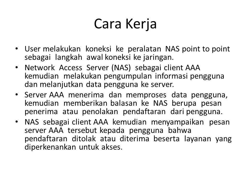Cara Kerja User melakukan koneksi ke peralatan NAS point to point sebagai langkah awal koneksi ke jaringan. Network Access Server (NAS) sebagai client
