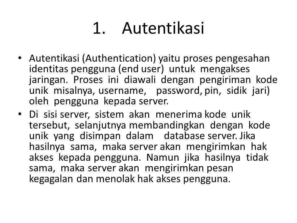 1.Autentikasi Autentikasi (Authentication) yaitu proses pengesahan identitas pengguna (end user) untuk mengakses jaringan. Proses ini diawali dengan p