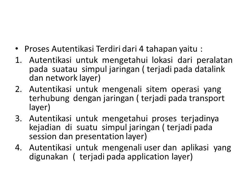 Proses Autentikasi Terdiri dari 4 tahapan yaitu : 1.Autentikasi untuk mengetahui lokasi dari peralatan pada suatau simpul jaringan ( terjadi pada datalink dan network layer) 2.Autentikasi untuk mengenali sitem operasi yang terhubung dengan jaringan ( terjadi pada transport layer) 3.Autentikasi untuk mengetahui proses terjadinya kejadian di suatu simpul jaringan ( terjadi pada session dan presentation layer) 4.Autentikasi untuk mengenali user dan aplikasi yang digunakan ( terjadi pada application layer)