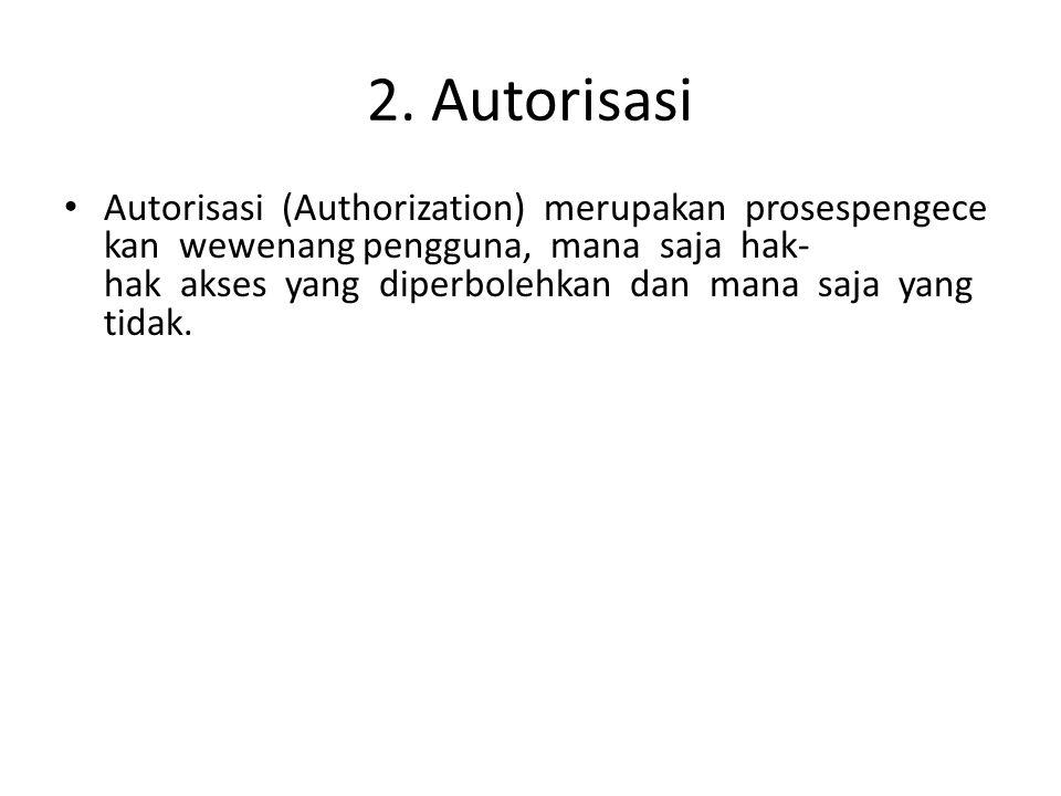 2. Autorisasi Autorisasi (Authorization) merupakan prosespengece kan wewenang pengguna, mana saja hak- hak akses yang diperbolehkan dan mana saja yang