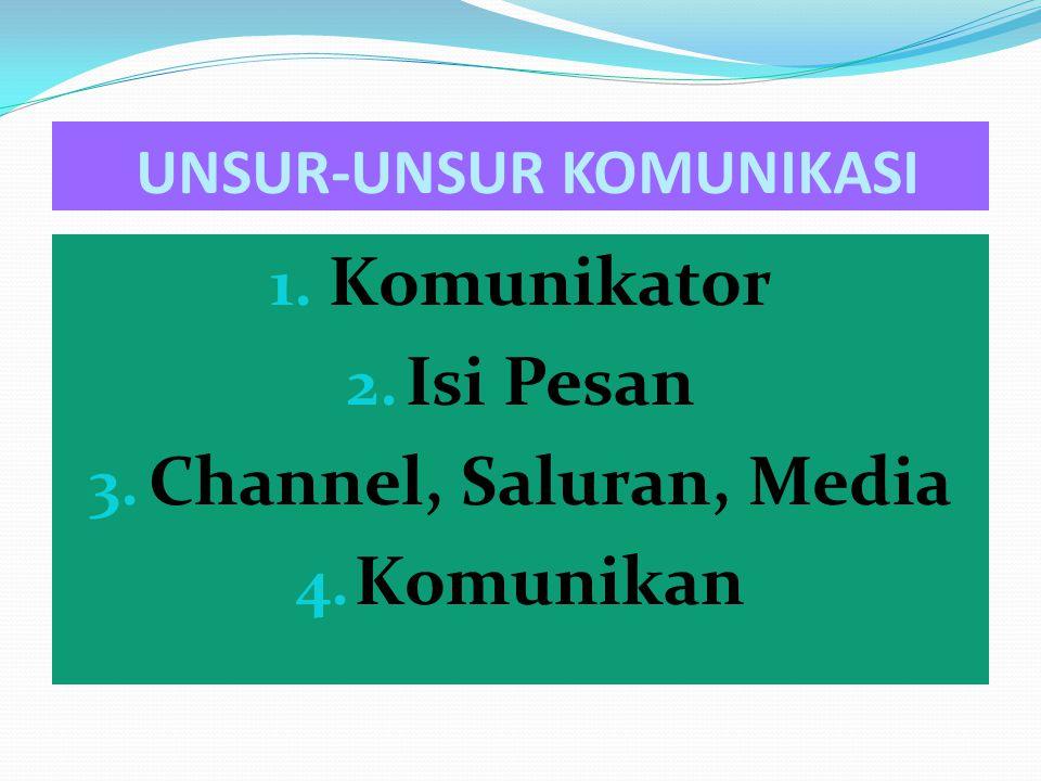 1. Komunikator 2. Isi Pesan 3. Channel, Saluran, Media 4. Komunikan UNSUR-UNSUR KOMUNIKASI