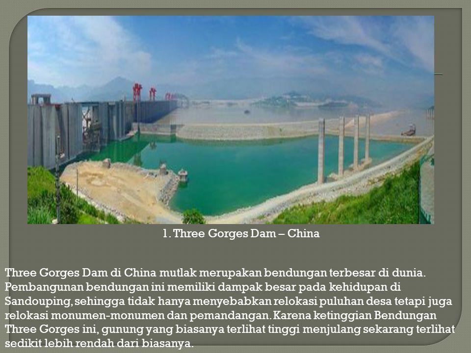 Three Gorges Dam di China mutlak merupakan bendungan terbesar di dunia. Pembangunan bendungan ini memiliki dampak besar pada kehidupan di Sandouping,