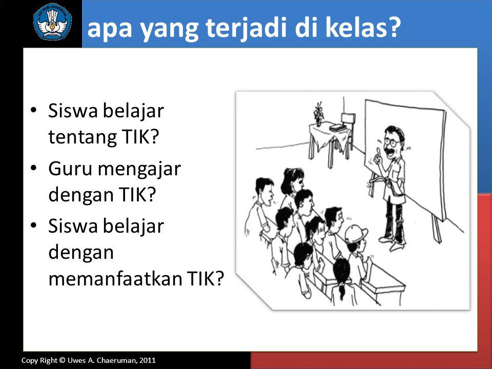 Copy Right © Uwes A. Chaeruman, 2011 Siswa belajar tentang TIK? Guru mengajar dengan TIK? Siswa belajar dengan memanfaatkan TIK? apa yang terjadi di k