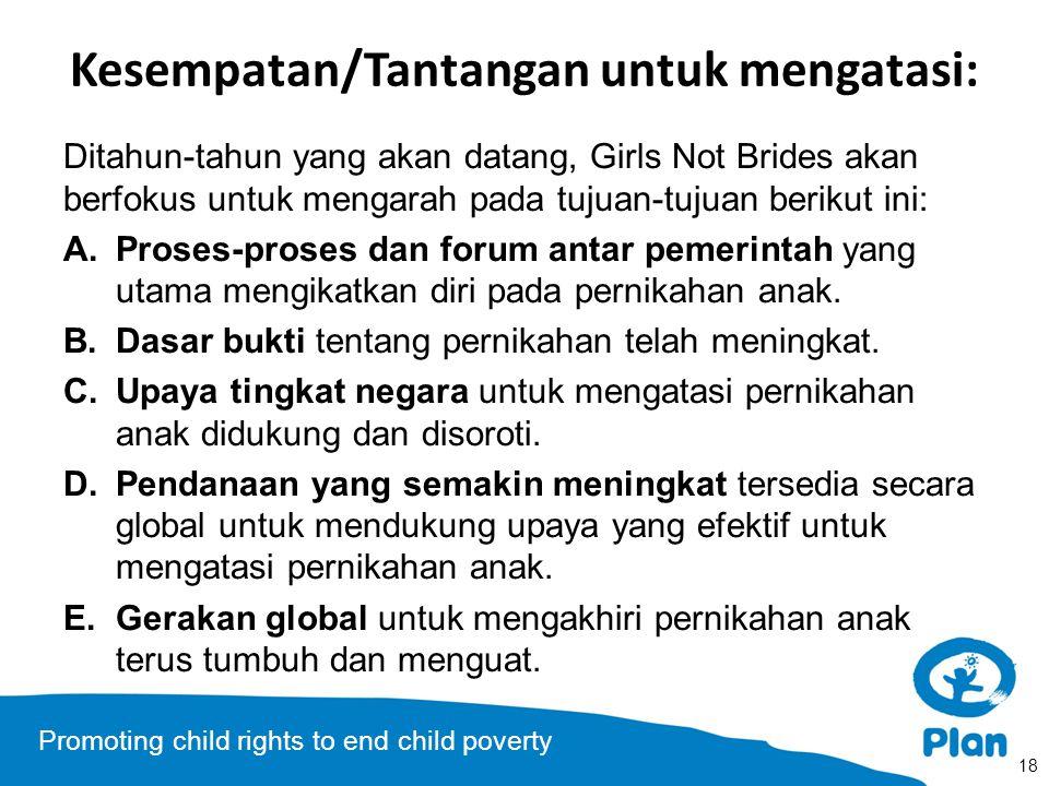 Promoting child rights to end child poverty Kesempatan/Tantangan untuk mengatasi: Ditahun-tahun yang akan datang, Girls Not Brides akan berfokus untuk
