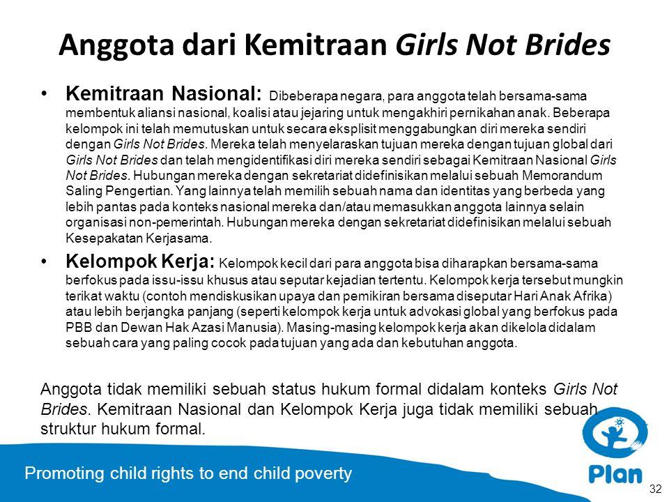 Promoting child rights to end child poverty Anggota dari Kemitraan Girls Not Brides Kemitraan Nasional: Dibeberapa negara, para anggota telah bersama-sama membentuk aliansi nasional, koalisi atau jejaring untuk mengakhiri pernikahan anak.