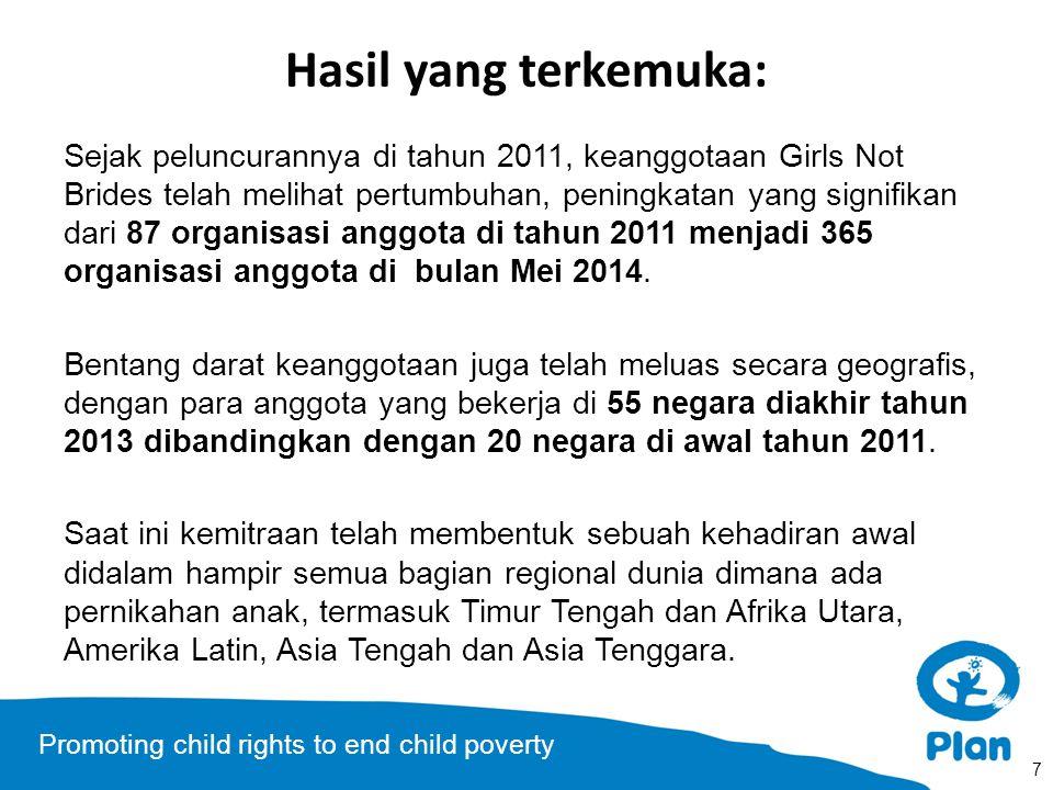 Promoting child rights to end child poverty Kesempatan/Tantangan untuk mengatasi: Ditahun-tahun yang akan datang, Girls Not Brides akan berfokus untuk mengarah pada tujuan-tujuan berikut ini: A.Proses-proses dan forum antar pemerintah yang utama mengikatkan diri pada pernikahan anak.