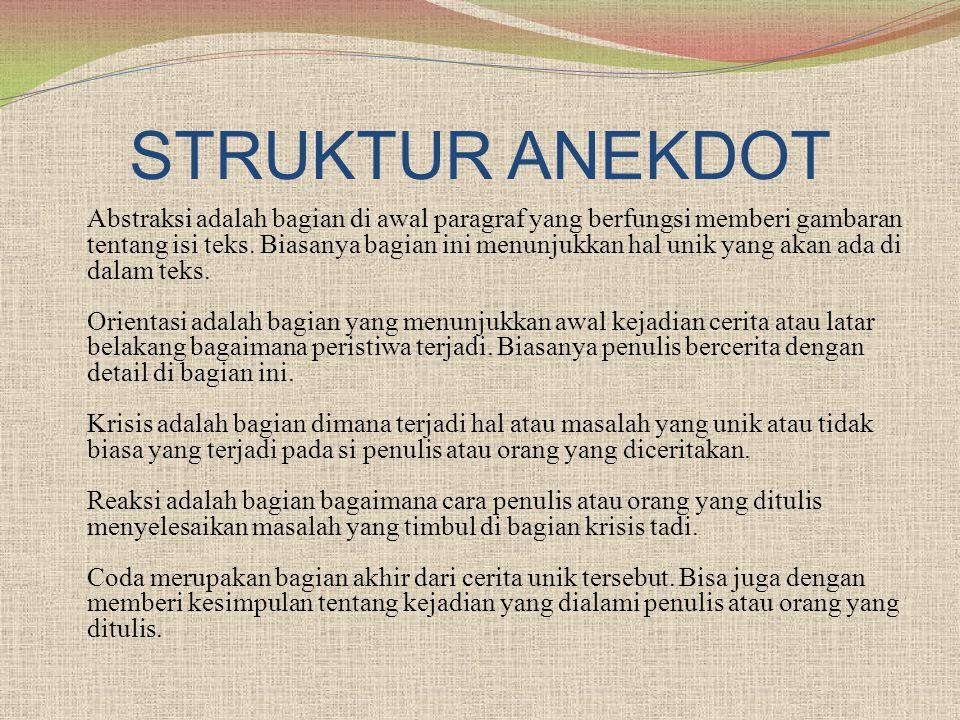 STRUKTUR ANEKDOT Abstraksi adalah bagian di awal paragraf yang berfungsi memberi gambaran tentang isi teks. Biasanya bagian ini menunjukkan hal unik y
