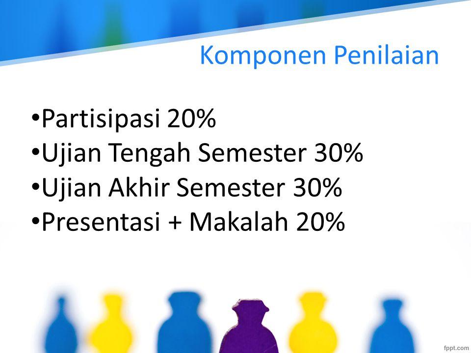 Komponen Penilaian Partisipasi 20% Ujian Tengah Semester 30% Ujian Akhir Semester 30% Presentasi + Makalah 20%