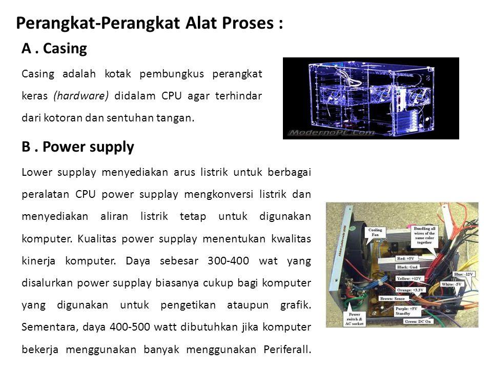 Perangkat-Perangkat Alat Proses : A. Casing Casing adalah kotak pembungkus perangkat keras (hardware) didalam CPU agar terhindar dari kotoran dan sent