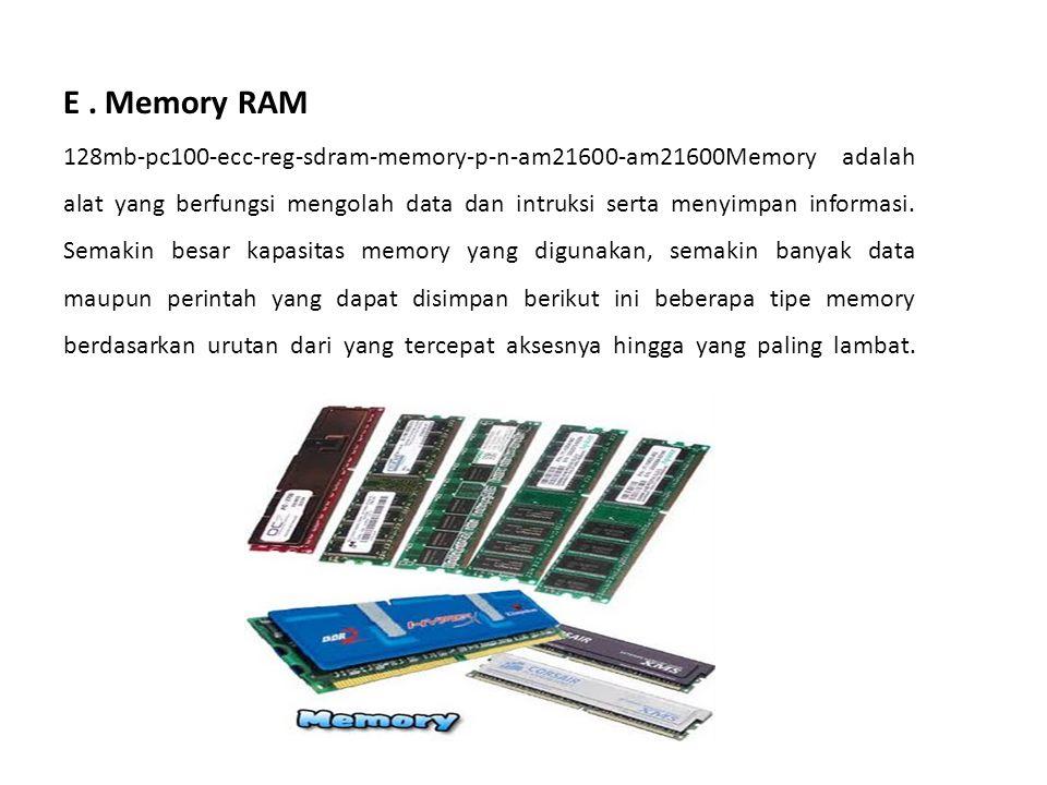 E. Memory RAM 128mb-pc100-ecc-reg-sdram-memory-p-n-am21600-am21600Memory adalah alat yang berfungsi mengolah data dan intruksi serta menyimpan informa