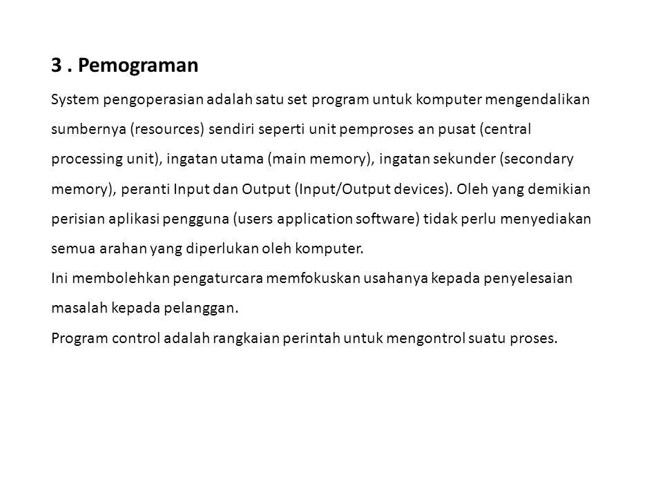 3. Pemograman System pengoperasian adalah satu set program untuk komputer mengendalikan sumbernya (resources) sendiri seperti unit pemproses an pusat