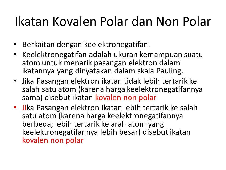 Ikatan Kovalen Polar dan Non Polar Berkaitan dengan keelektronegatifan. Keelektronegatifan adalah ukuran kemampuan suatu atom untuk menarik pasangan e