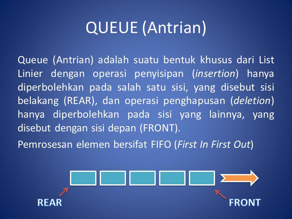 QUEUE (Antrian) Queue (Antrian) adalah suatu bentuk khusus dari List Linier dengan operasi penyisipan (insertion) hanya diperbolehkan pada salah satu sisi, yang disebut sisi belakang (REAR), dan operasi penghapusan (deletion) hanya diperbolehkan pada sisi yang lainnya, yang disebut dengan sisi depan (FRONT).