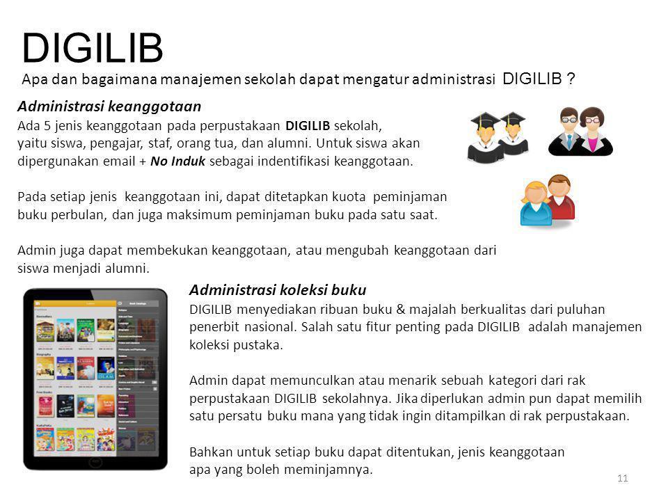 11 DIGILIB Apa dan bagaimana manajemen sekolah dapat mengatur administrasi DIGILIB ? Administrasi keanggotaan Ada 5 jenis keanggotaan pada perpustakaa