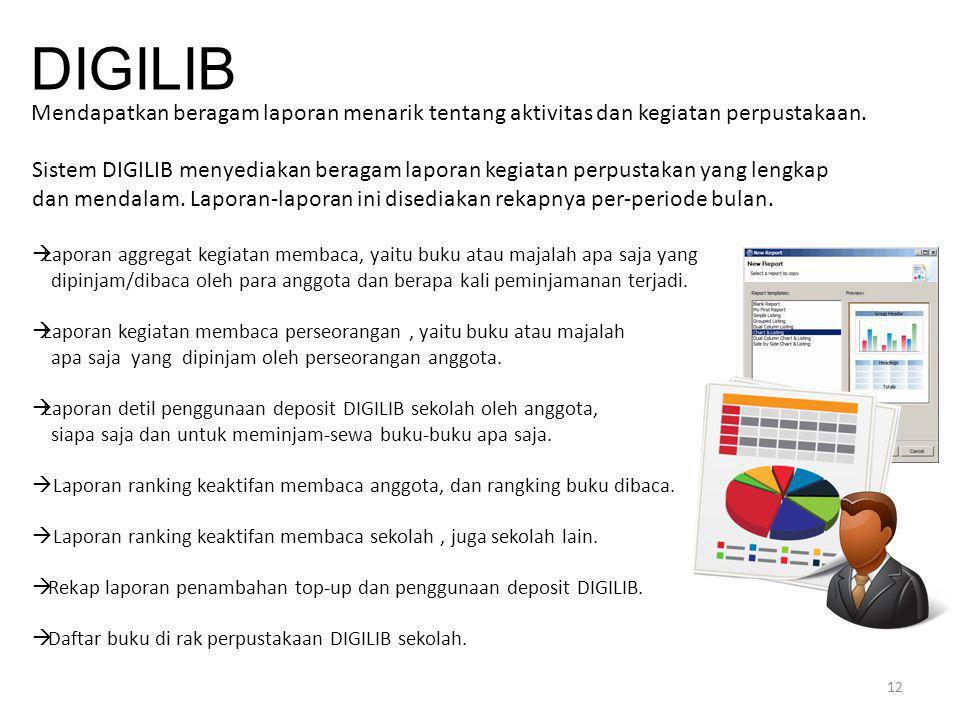 12 DIGILIB Mendapatkan beragam laporan menarik tentang aktivitas dan kegiatan perpustakaan. Sistem DIGILIB menyediakan beragam laporan kegiatan perpus