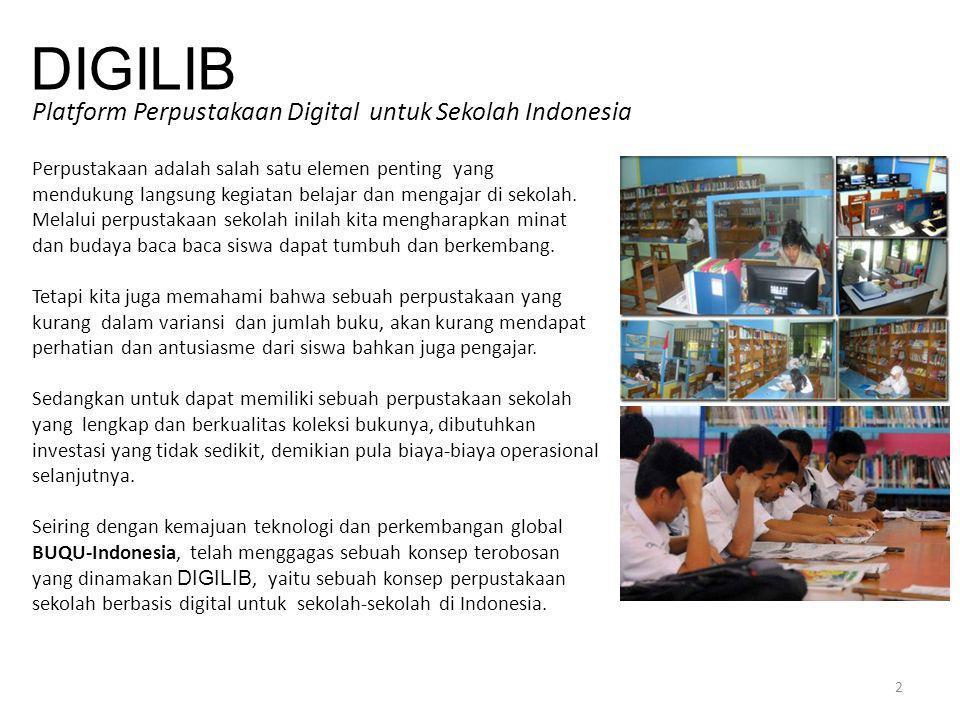 DIGILIB Platform Perpustakaan Digital untuk Sekolah Indonesia Perpustakaan adalah salah satu elemen penting yang mendukung langsung kegiatan belajar d