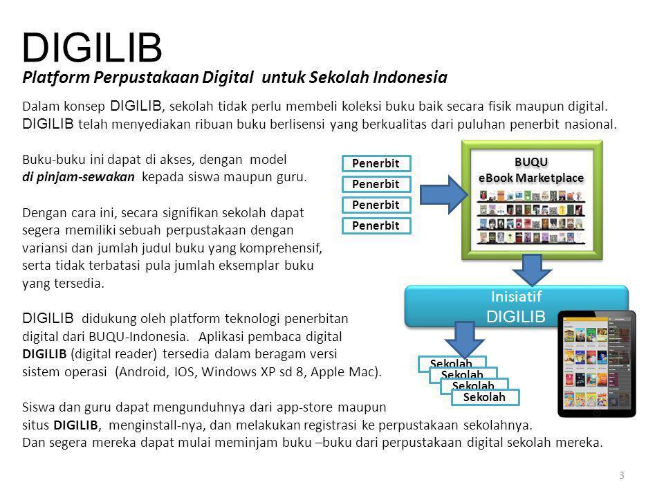 DIGILIB Platform Perpustakaan Digital untuk Sekolah Indonesia Dalam konsep DIGILIB, sekolah tidak perlu membeli koleksi buku baik secara fisik maupun
