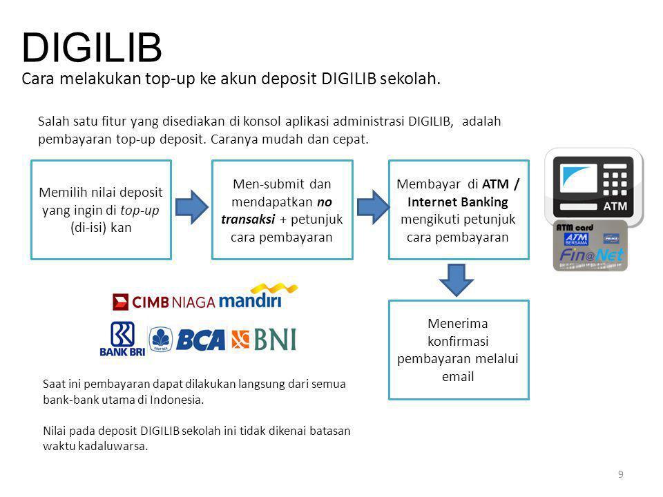 9 DIGILIB Cara melakukan top-up ke akun deposit DIGILIB sekolah. Salah satu fitur yang disediakan di konsol aplikasi administrasi DIGILIB, adalah pemb