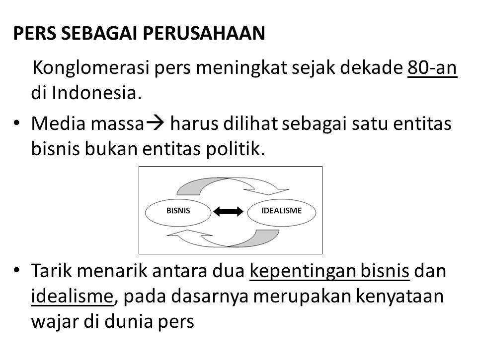 PERS SEBAGAI PERUSAHAAN Konglomerasi pers meningkat sejak dekade 80-an di Indonesia.