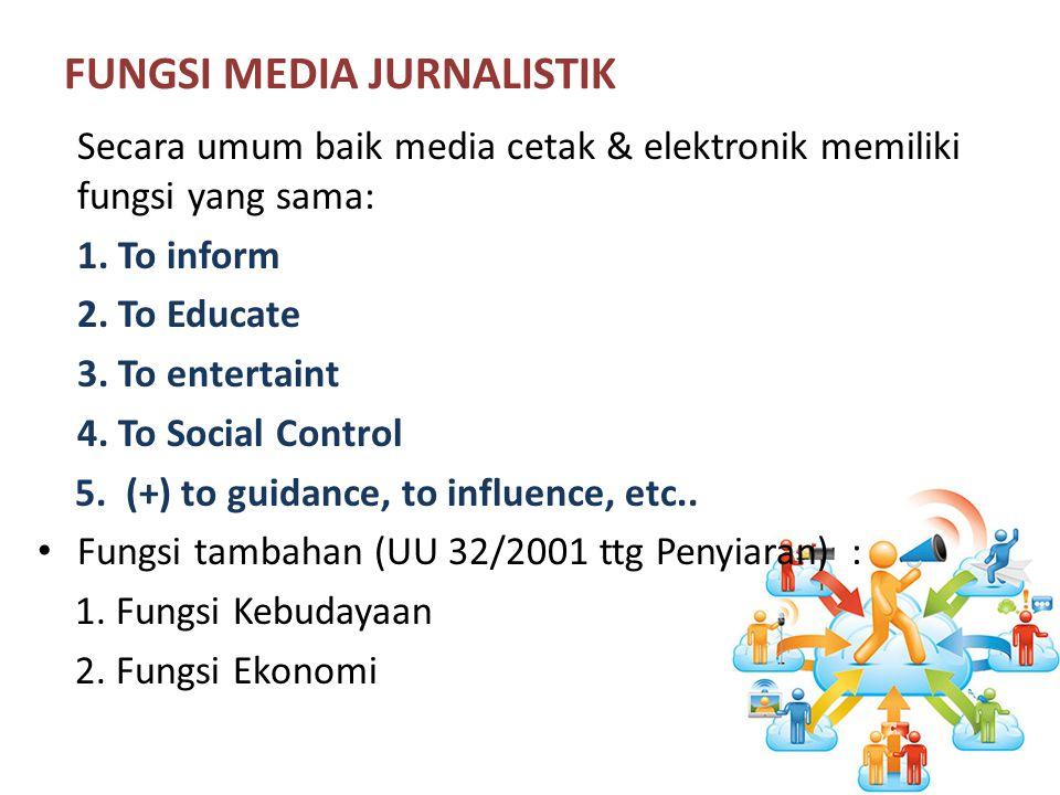 FUNGSI MEDIA JURNALISTIK Secara umum baik media cetak & elektronik memiliki fungsi yang sama: 1.