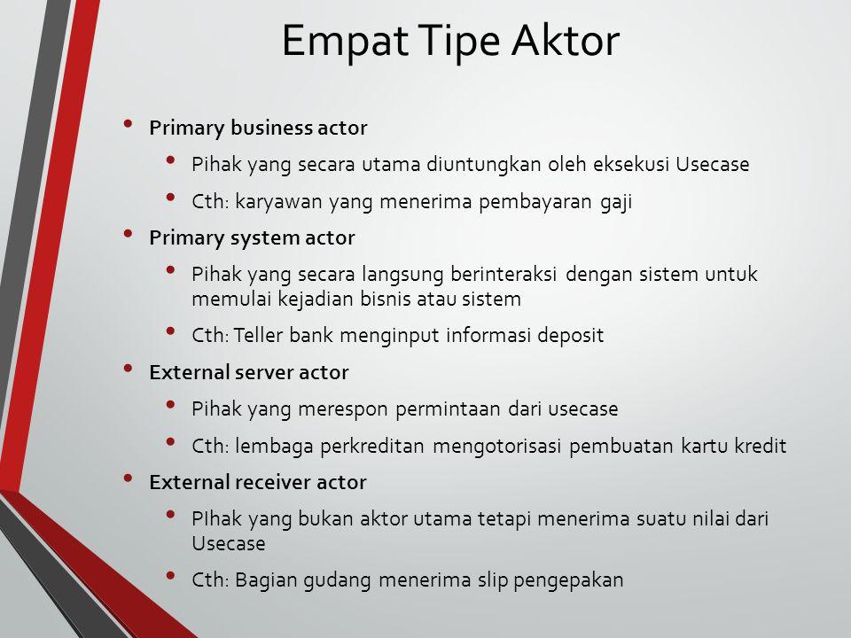 Empat Tipe Aktor Primary business actor Pihak yang secara utama diuntungkan oleh eksekusi Usecase Cth: karyawan yang menerima pembayaran gaji Primary