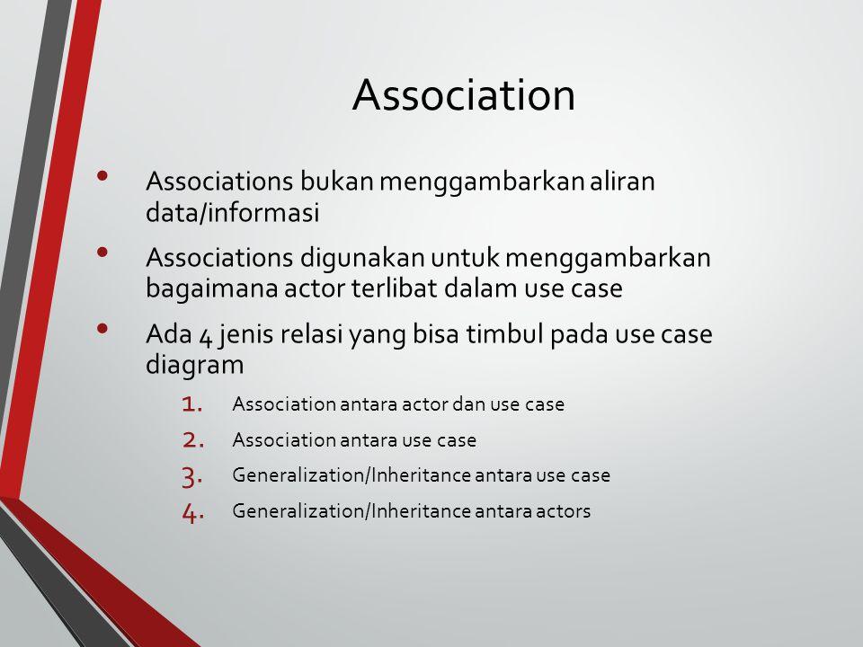 Association Associations bukan menggambarkan aliran data/informasi Associations digunakan untuk menggambarkan bagaimana actor terlibat dalam use case Ada 4 jenis relasi yang bisa timbul pada use case diagram 1.