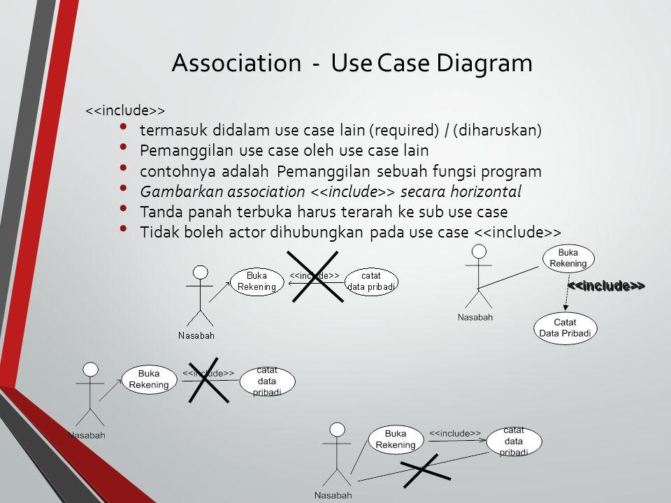 > termasuk didalam use case lain (required) / (diharuskan) Pemanggilan use case oleh use case lain contohnya adalah Pemanggilan sebuah fungsi program Gambarkan association > secara horizontal Tanda panah terbuka harus terarah ke sub use case Tidak boleh actor dihubungkan pada use case > <<include>> Association - Use Case Diagram