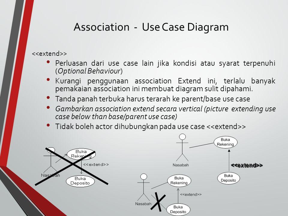 > Perluasan dari use case lain jika kondisi atau syarat terpenuhi (Optional Behaviour) Kurangi penggunaan association Extend ini, terlalu banyak pemakaian association ini membuat diagram sulit dipahami.