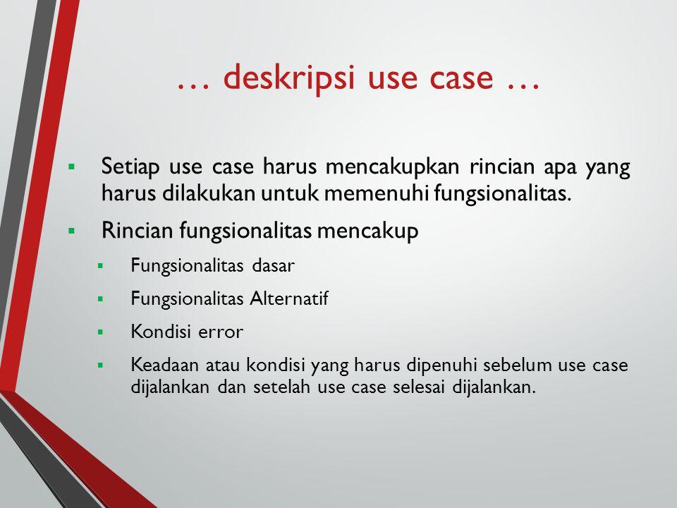 … deskripsi use case …  Setiap use case harus mencakupkan rincian apa yang harus dilakukan untuk memenuhi fungsionalitas.  Rincian fungsionalitas me