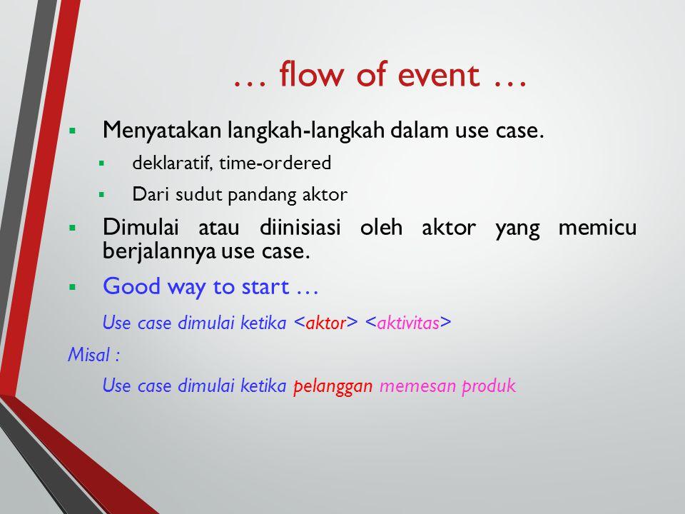 … flow of event …  Menyatakan langkah-langkah dalam use case.  deklaratif, time-ordered  Dari sudut pandang aktor  Dimulai atau diinisiasi oleh ak