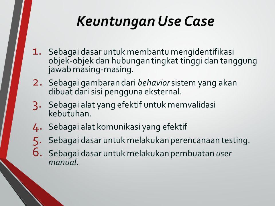 Keuntungan Use Case 1. Sebagai dasar untuk membantu mengidentifikasi objek-objek dan hubungan tingkat tinggi dan tanggung jawab masing-masing. 2. Seba