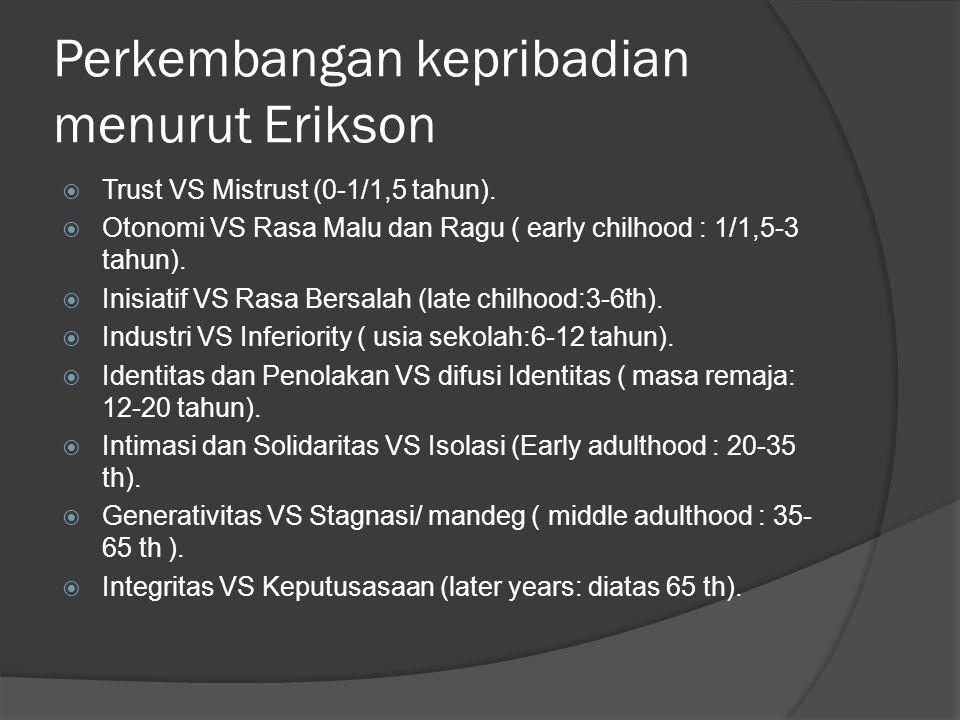 Perkembangan kepribadian menurut Erikson  Trust VS Mistrust (0-1/1,5 tahun).  Otonomi VS Rasa Malu dan Ragu ( early chilhood : 1/1,5-3 tahun).  Ini